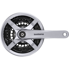 Shimano FC-TY501 Pédalier 6/7/8 vitesses 48-38-28 dents avec carter de protection, silver